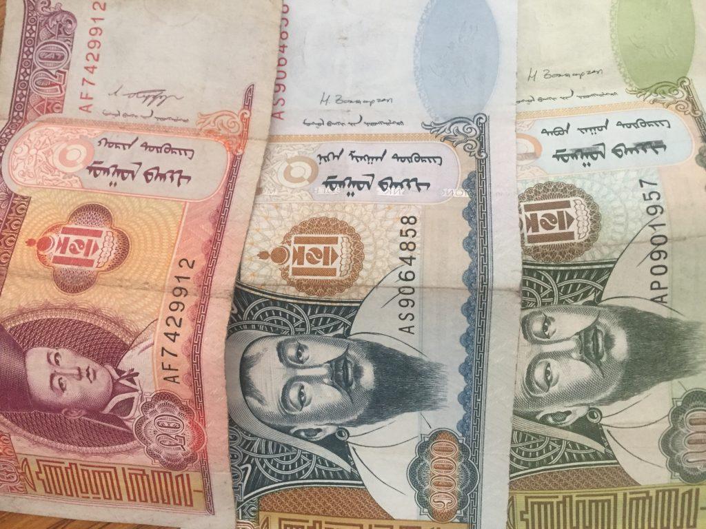 mongolische Währung Mongolische Geldscheine - 20er, 500er und 1000er