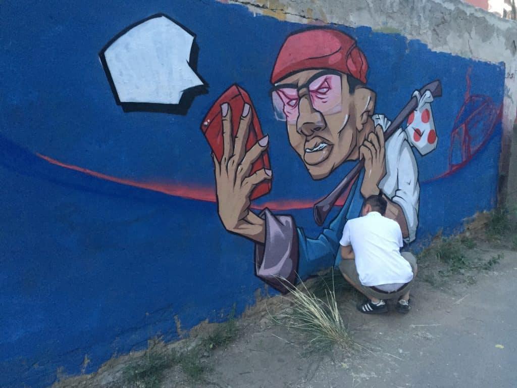 Foto eines bunten Graffiti in Ulaanbaatar - Selfie Nomad!