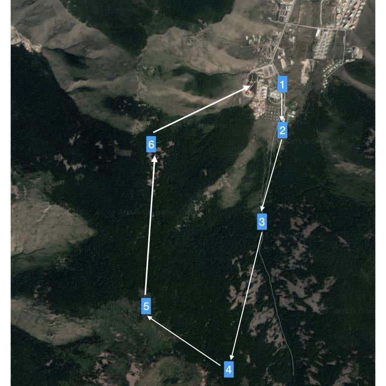 Wanderkarte für Bobbys Wanderung im Bogd Khan Gebirge