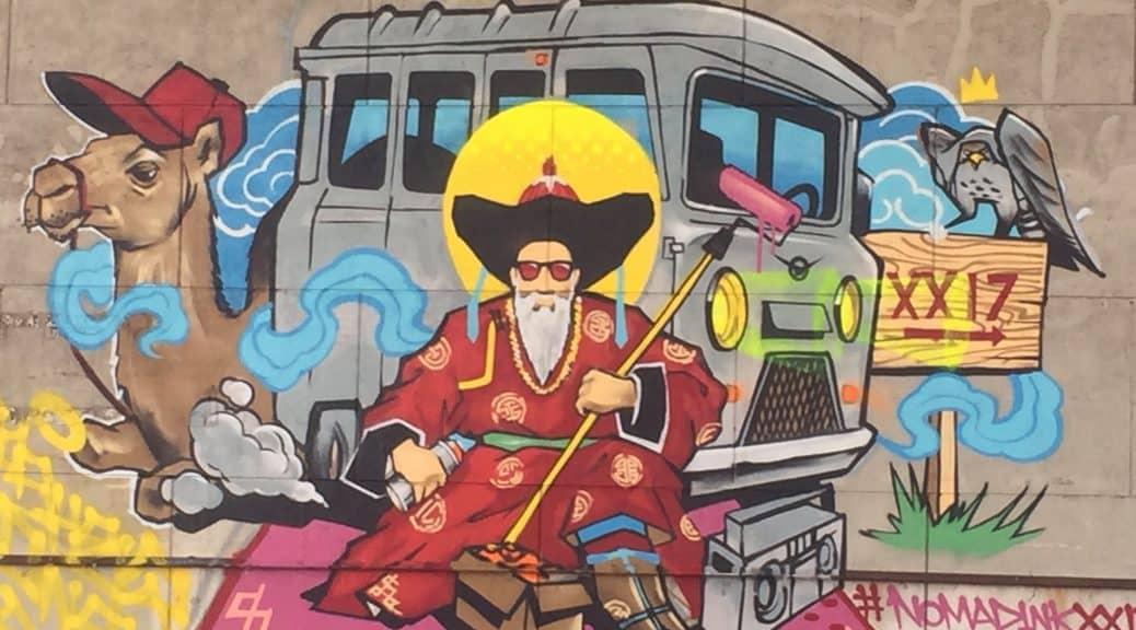 traditionelle Kleidung eines Mongolen in einem Graffiti
